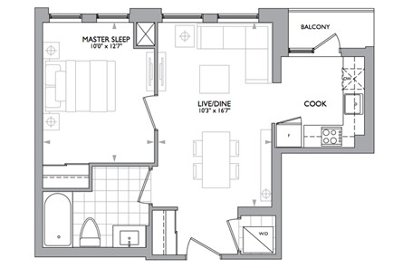 526 sf Floor Plan